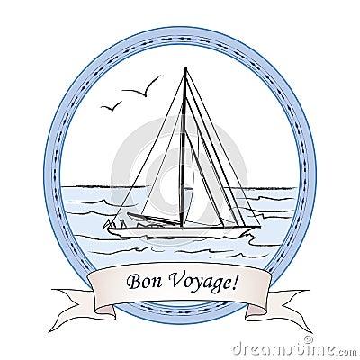 Vintage Sailboat Sketch Bon Voyage Greeting Vi...