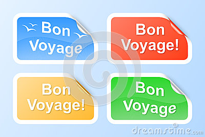 Bon Voyage labels. 2d illustration