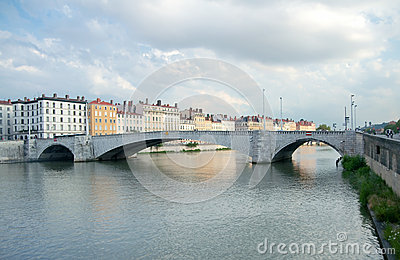 Bonaparte Bridge, Saone River, Lyon, France Stock Photos - Image: 25802873