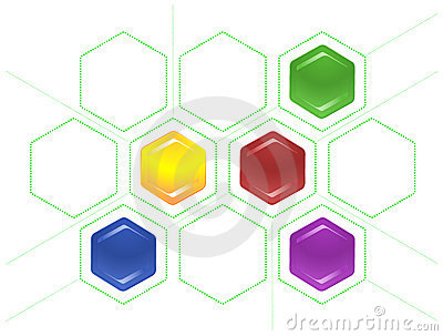 Bond scheme of hexagons and dotted lines