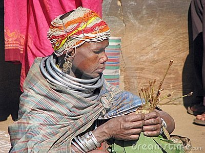 Bonda tribal woman in the market Editorial Stock Image