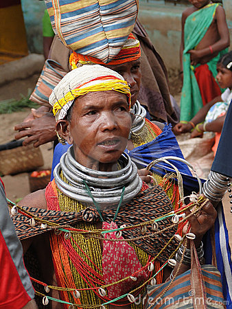 Bonda tribal women offer their handmade crafts Editorial Stock Image