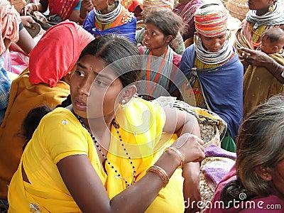 Bonda tribal women shop Editorial Stock Photo