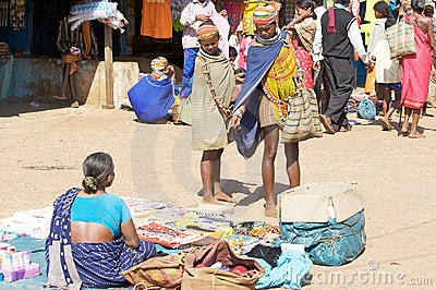 Bonda woman in the Onokudelli Market Editorial Photo