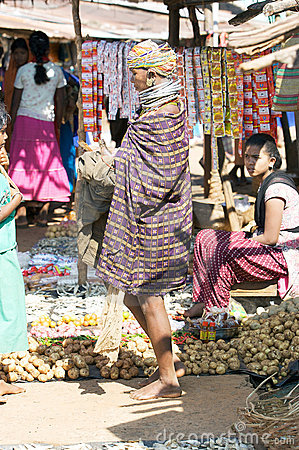 Bonda woman in the Onokudelli Market Editorial Stock Image