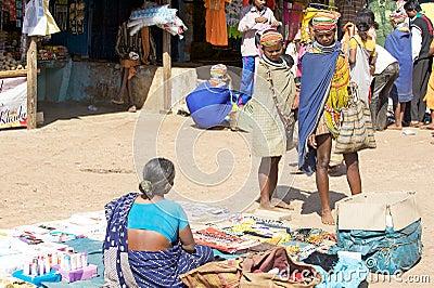 Bonda woman in the Onokudelli Market Editorial Photography
