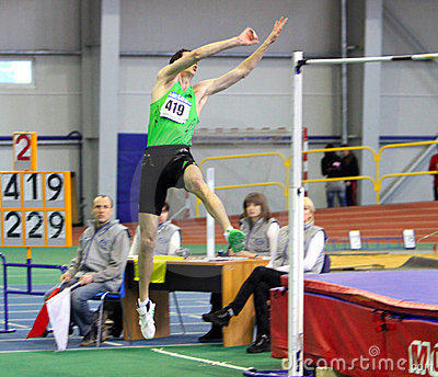 Bonderenko Bogdan wins second place the high jump Editorial Photography
