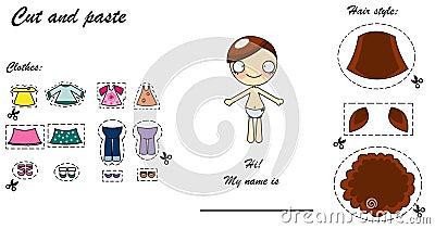 Boneca do vestido do cortado e colado