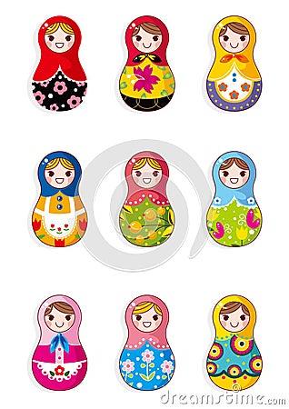 Bonecas do russo dos desenhos animados