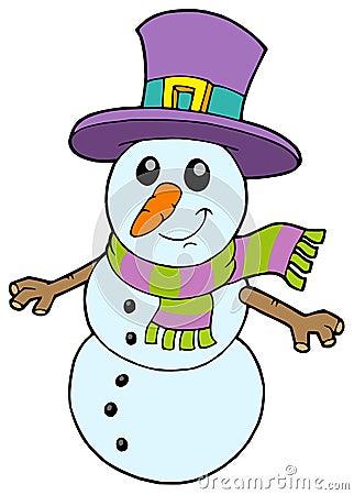 Boneco de neve bonito dos desenhos animados