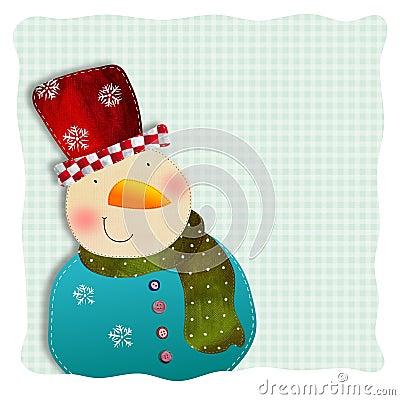 Boneco de neve. Cartão de Natal