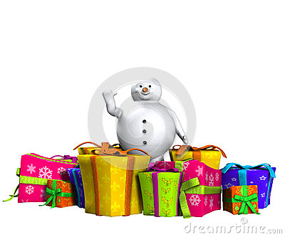 Boneco de neve na neve