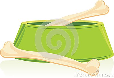Bones in a green doggy bowl