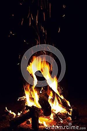 Free Bonfire Burning At The Night Stock Image - 15760031