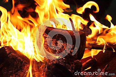 Bonfire and flames