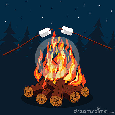 Free Bonfire With Marshmallow Stock Photo - 63894710