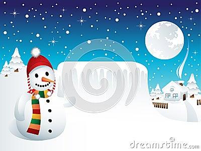 Bonhomme de neige avec le panneau figé