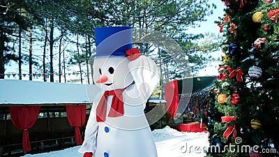 Bonhomme de neige d'animateur du ` s d'enfants, bonhomme de neige de danse, danse drôle d'homme dans costumé sur le fond de l'arb clips vidéos