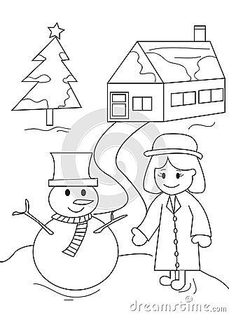 Bonhomme de neige et petite fille illustration stock image 49681980 - Bonhomme fille ...