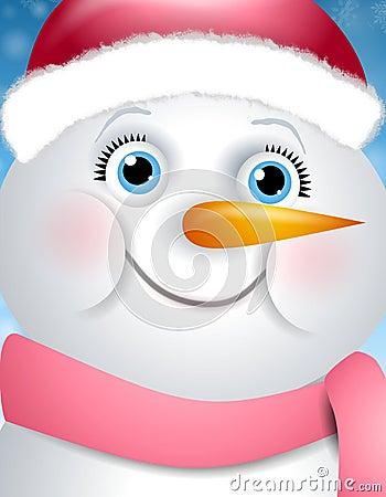 Bonhomme de neige heureux de fille de visage image stock image 7049831 - Bonhomme fille ...