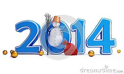 Bonne année 2014 de bonhommes de neige