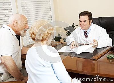 Bonnes nouvelles de docteur Gives au patient
