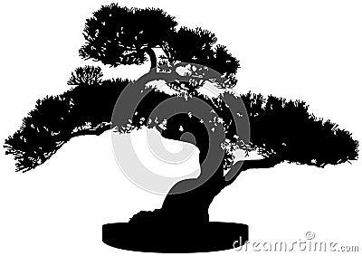Bonsai sylwetki drzewo