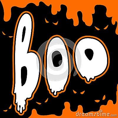 Boo happy halloween card comic style