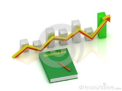 Book business, pen and graph