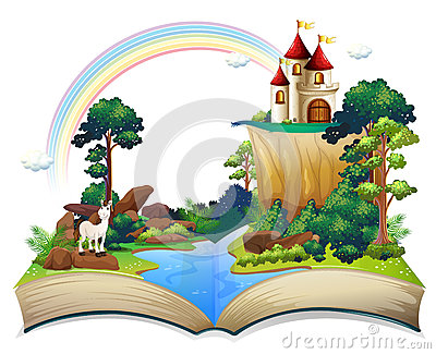 A book with a castle at the forest Vector Illustration