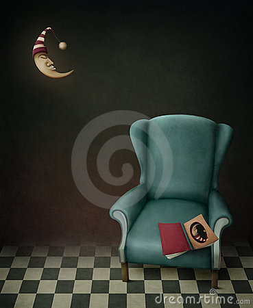 Book,  chair and  moon