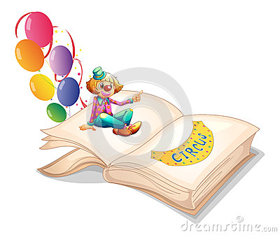 A book with a clown and balloons
