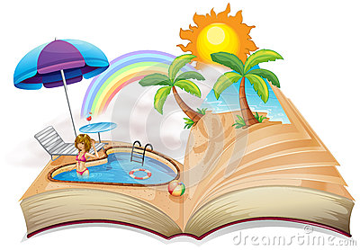 A book with an image of a pool