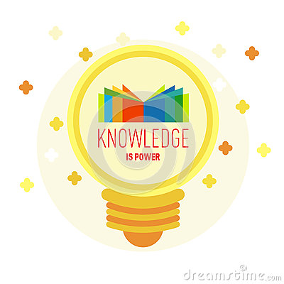 Free Book Logo In Lamp With Text: Knowledge Is Power. Royalty Free Stock Photos - 71919238