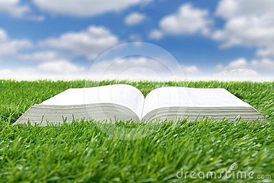 Book lying on grass