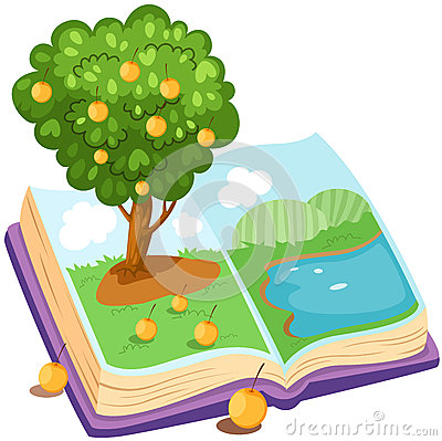 Book with orange tree