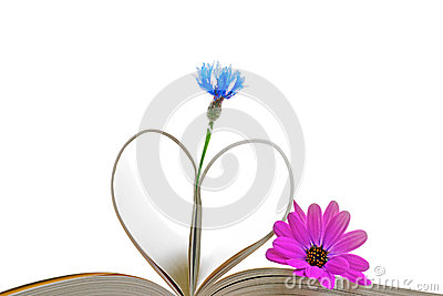 Book pages with flowers