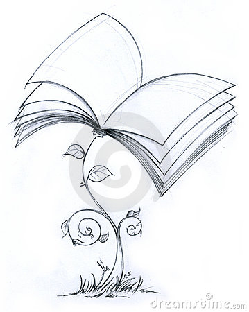 Book plant pencil illustration