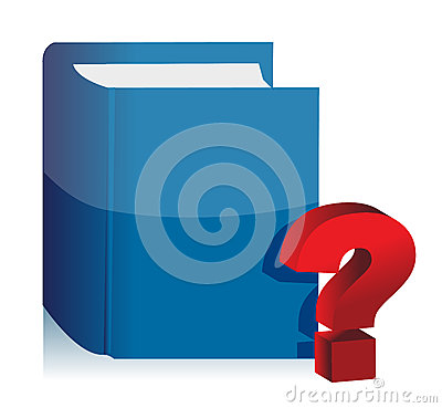 Book and question mark illustration design