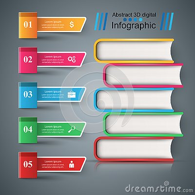 Book, read, education - school infographic. Vector Illustration