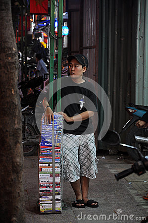 Book sales at Pham Ngu Lao street saigon vietnam Editorial Stock Photo