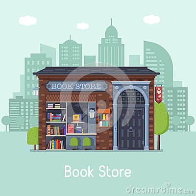 Book Shop Concept Banner Vector Illustration