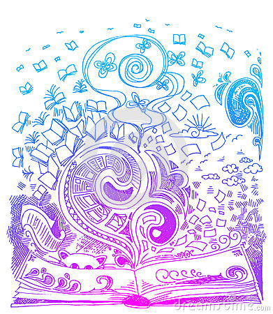 Book sketch doodles vector
