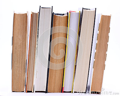 Book are standing upright in a row