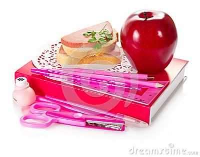 Book, stationery, sandwich with sausage and apple