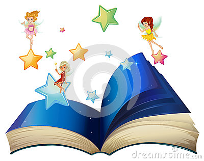 A book with three floating fairies