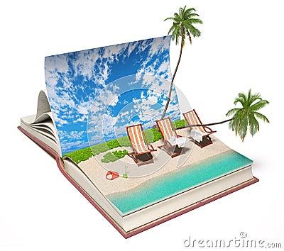 Book with a tropical beach