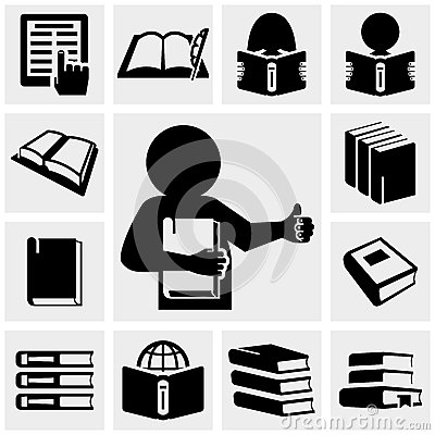 Book vector icons set on gray.