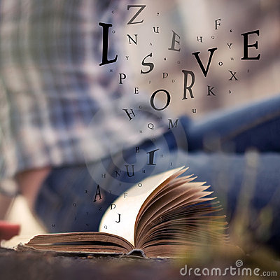 Free Book With Floating Letters In The Air Stock Images - 12084184