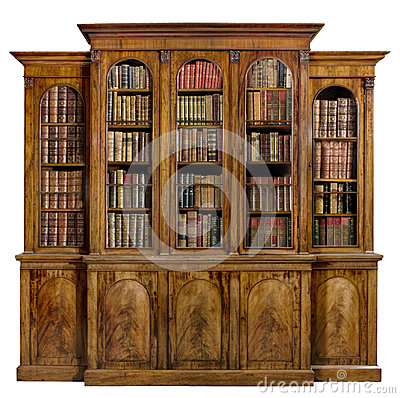 Free Bookcase Dresser Breakfront Old Antique English With Books Stock Image - 98640581